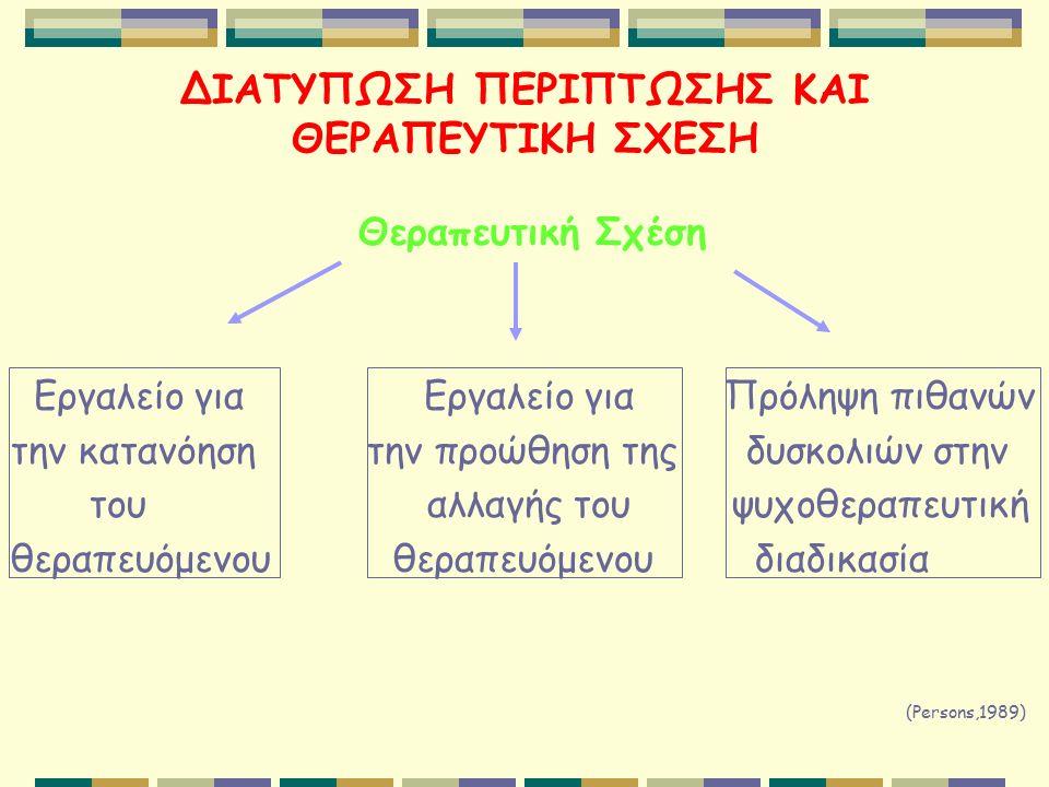 ΔΙΑΤΥΠΩΣΗ ΠΕΡΙΠΤΩΣΗΣ ΚΑΙ ΘΕΡΑΠΕΥΤΙΚΗ ΣΧΕΣΗ Θεραπευτική Σχέση Εργαλείο για Εργαλείο για Πρόληψη πιθανών την κατανόηση την προώθηση της δυσκολιών στην του αλλαγής του ψυχοθεραπευτική θεραπευόμενου θεραπευόμενου διαδικασία (Persons,1989)