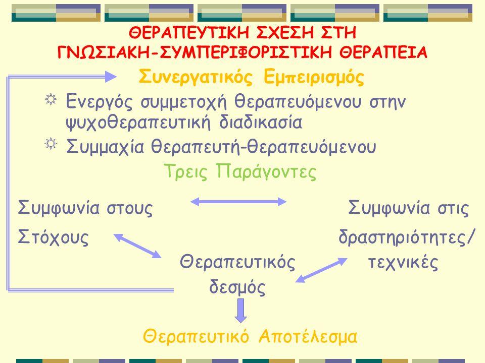 ΘΕΡΑΠΕΥΤΙΚΗ ΣΧΕΣΗ ΣΤΗ ΓΝΩΣΙΑΚΗ-ΣΥΜΠΕΡΙΦΟΡΙΣΤΙΚΗ ΘΕΡΑΠΕΙΑ Συνεργατικός Εμπειρισμός Ενεργός συμμετοχή θεραπευόμενου στην ψυχοθεραπευτική διαδικασία Συμμαχία θεραπευτή-θεραπευόμενου Τρεις Παράγοντες Συμφωνία στους Συμφωνία στις Στόχους δραστηριότητες/ Θεραπευτικός τεχνικές δεσμός Θεραπευτικό Αποτέλεσμα