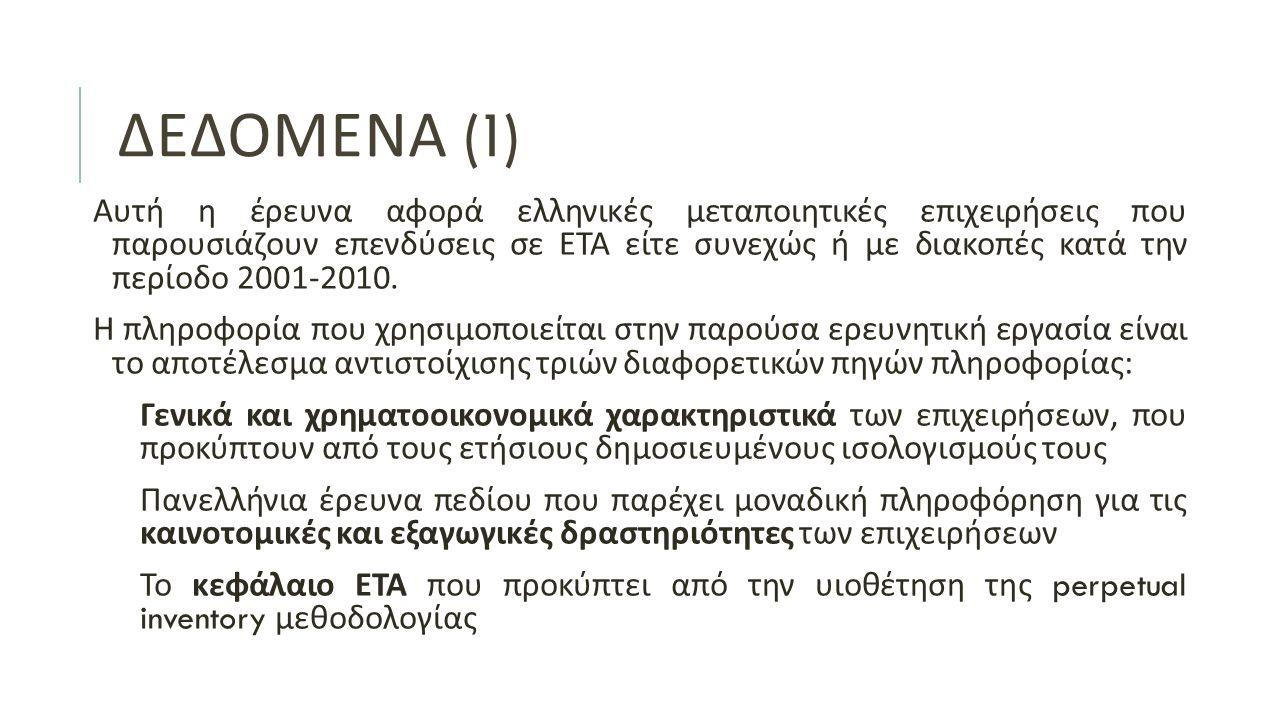 ΔΕΔΟΜΕΝΑ (1) Αυτή η έρευνα αφορά ελληνικές μεταποιητικές επιχειρήσεις που παρουσιάζουν επενδύσεις σε ΕΤΑ είτε συνεχώς ή με διακοπές κατά την περίοδο 2001-2010.