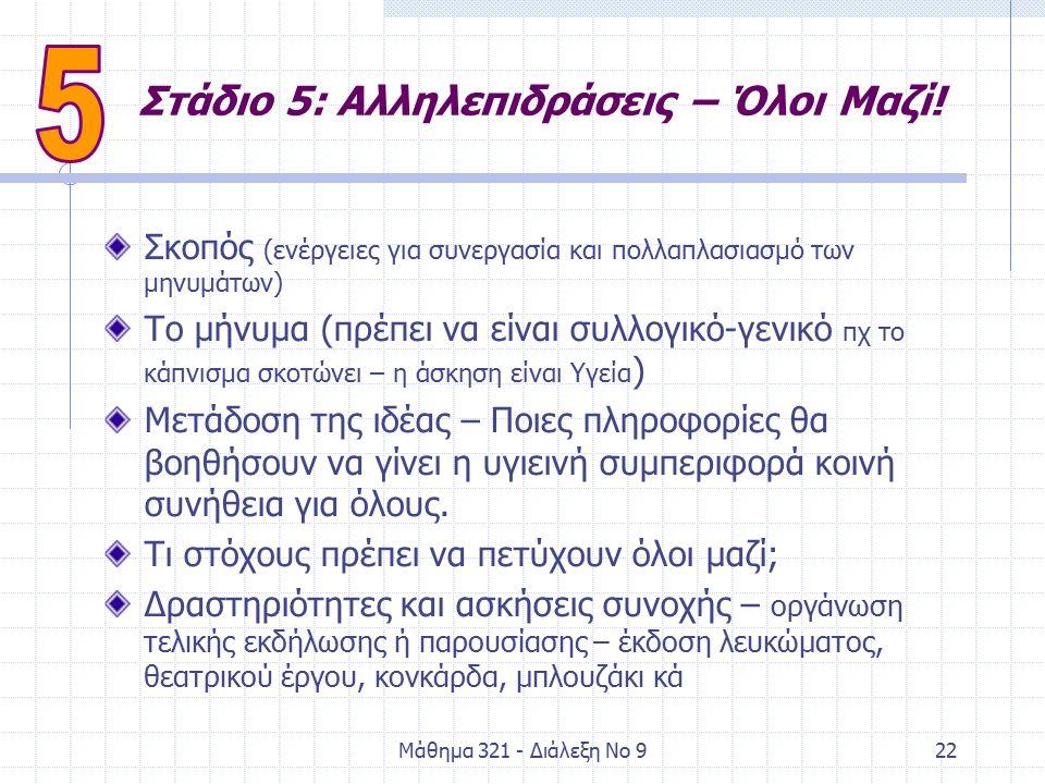 Μάθημα 321 - Διάλεξη Νο 922 Στάδιο 5: Αλληλεπιδράσεις – Όλοι Μαζί.