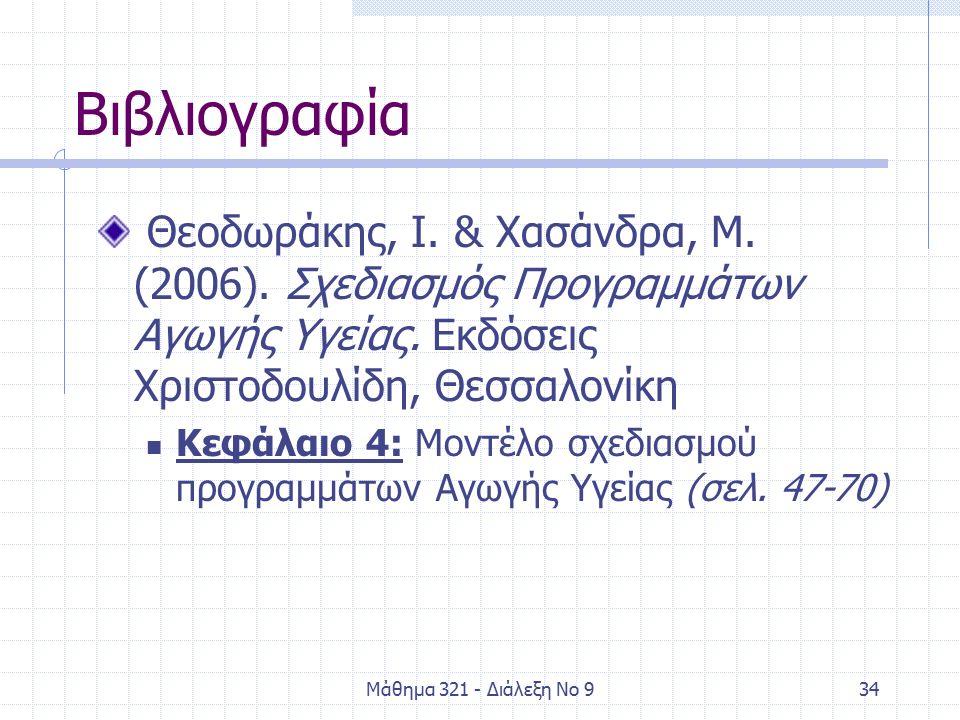 Μάθημα 321 - Διάλεξη Νο 934 Βιβλιογραφία Θεοδωράκης, Ι.