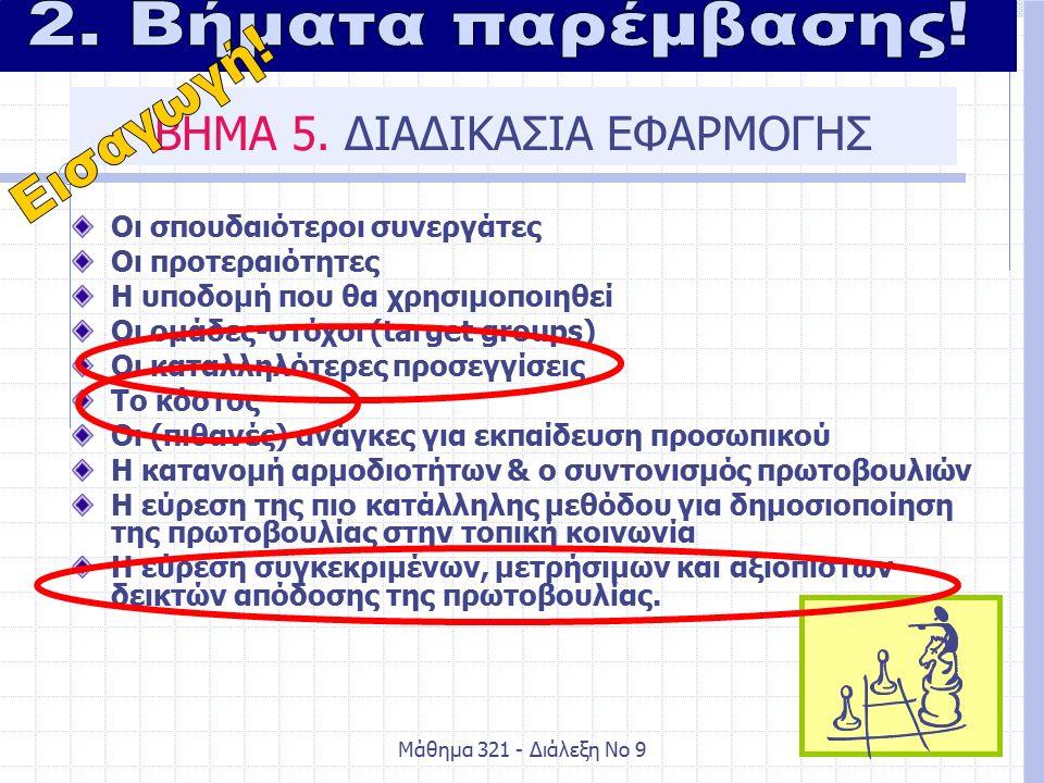 Μάθημα 321 - Διάλεξη Νο 98 ΒΗΜΑ 5.