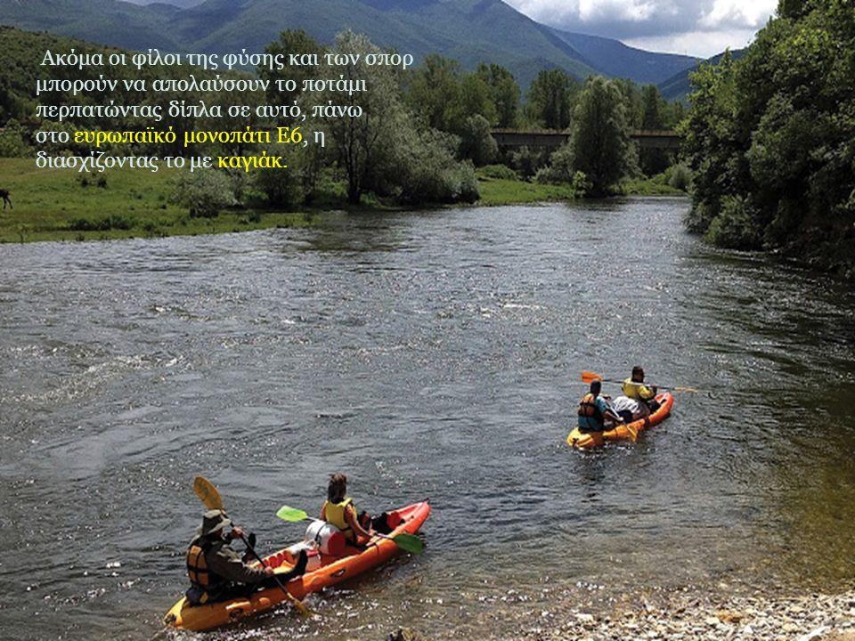 Ακόμα οι φίλοι της φύσης και των σπορ μπορούν να απολαύσουν το ποτάμι περπατώντας δίπλα σε αυτό, πάνω στο ευρωπαϊκό μονοπάτι Ε6, η διασχίζοντας το με