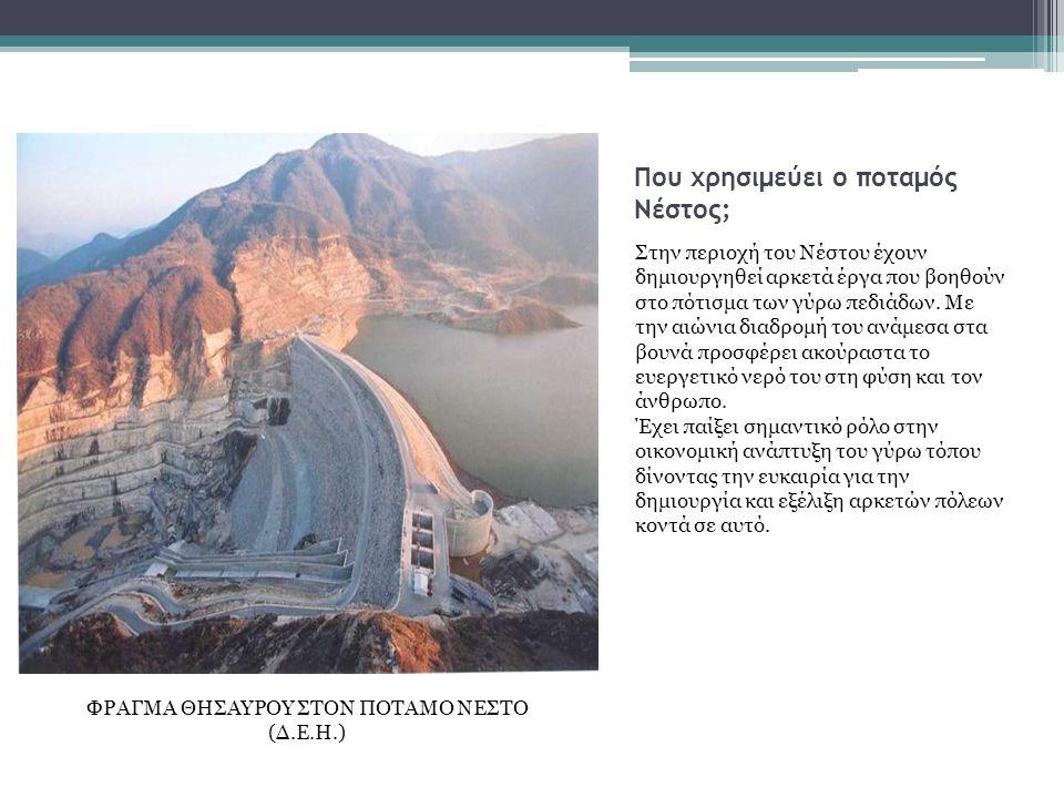 Που χρησιμεύει ο ποταμός Νέστος; Στην περιοχή του Νέστου έχουν δημιουργηθεί αρκετά έργα που βοηθούν στο πότισμα των γύρω πεδιάδων.