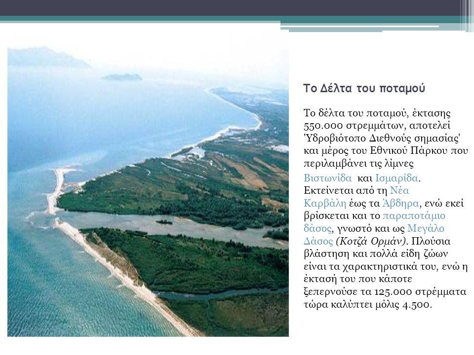 Το Δέλτα του ποταμού Το δέλτα του ποταμού, έκτασης 550.000 στρεμμάτων, αποτελεί Υδροβιότοπο Διεθνούς σημασίας και μέρος του Εθνικού Πάρκου που περιλαμβάνει τις λίμνες Βιστωνίδα και Ισμαρίδα.