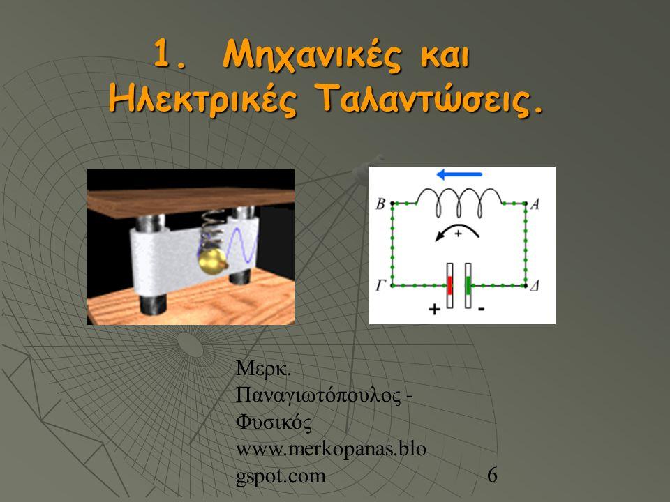 Μερκ. Παναγιωτόπουλος - Φυσικός www.merkopanas.blo gspot.com 6 1. Μηχανικές και Ηλεκτρικές Ταλαντώσεις.