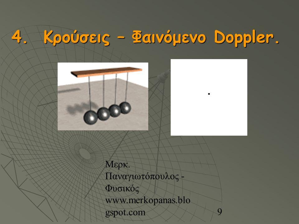 Μερκ. Παναγιωτόπουλος - Φυσικός www.merkopanas.blo gspot.com 9 4. Κρούσεις – Φαινόμενο Doppler.