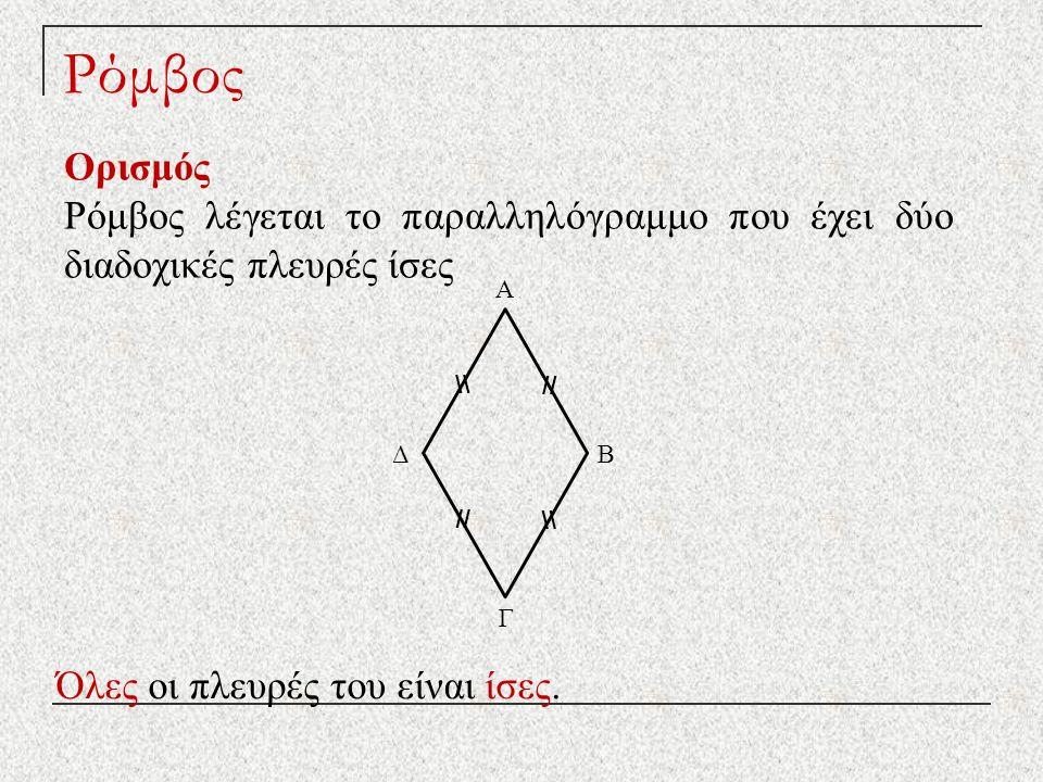Ρόμβος Ορισμός Ρόμβος λέγεται το παραλληλόγραμμο που έχει δύο διαδοχικές πλευρές ίσες Όλες οι πλευρές του είναι ίσες. Δ Γ Β Α // \\ // \\