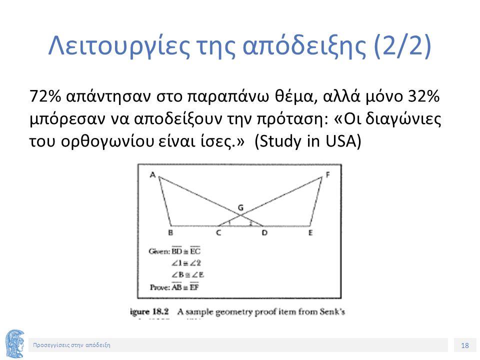 18 Προσεγγίσεις στην απόδειξη Λειτουργίες της απόδειξης (2/2) 72% απάντησαν στο παραπάνω θέμα, αλλά μόνο 32% μπόρεσαν να αποδείξουν την πρόταση: « Οι διαγώνιες του ορθογωνίου είναι ίσες.» (Study in USA)