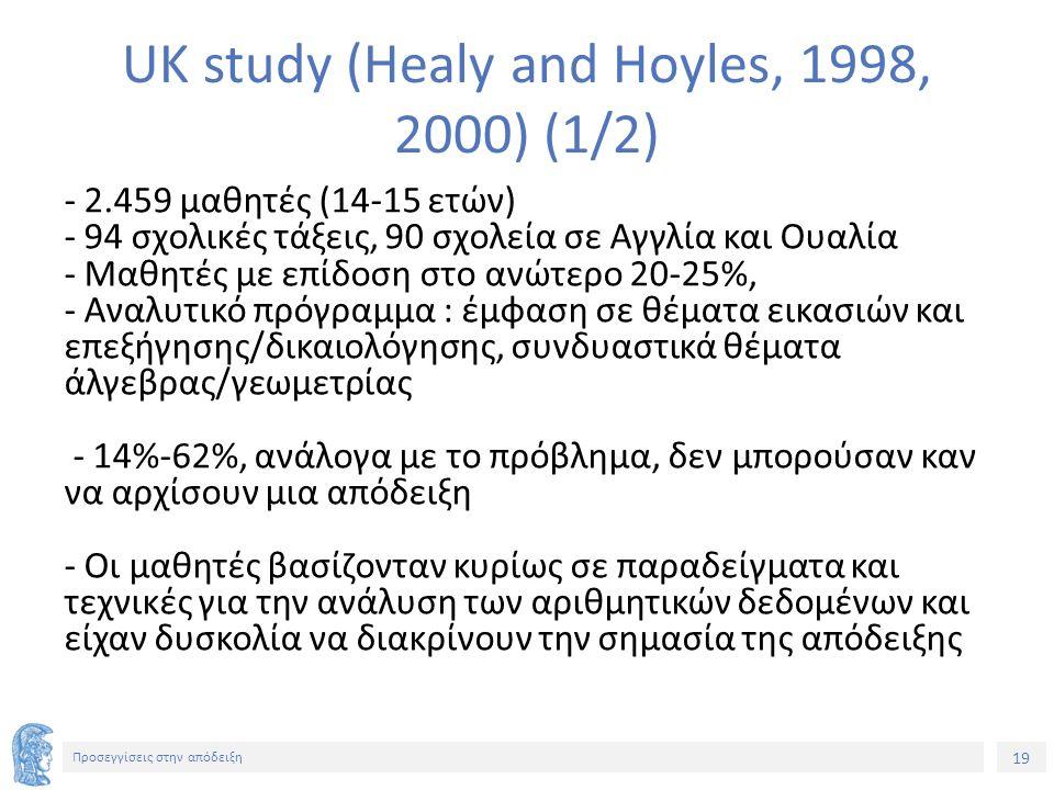 19 Προσεγγίσεις στην απόδειξη UK study (Healy and Hoyles, 1998, 2000) (1/2) - 2.459 μαθητές (14-15 ετών) - 94 σχολικές τάξεις, 90 σχολεία σε Αγγλία και Ουαλία - Μαθητές με επίδοση στο ανώτερο 20-25%, - Αναλυτικό πρόγραμμα : έμφαση σε θέματα εικασιών και επεξήγησης/δικαιολόγησης, συνδυαστικά θέματα άλγεβρας/γεωμετρίας - 14%-62%, ανάλογα με το πρόβλημα, δεν μπορούσαν καν να αρχίσουν μια απόδειξη - Οι μαθητές βασίζονταν κυρίως σε παραδείγματα και τεχνικές για την ανάλυση των αριθμητικών δεδομένων και είχαν δυσκολία να διακρίνουν την σημασία της απόδειξης