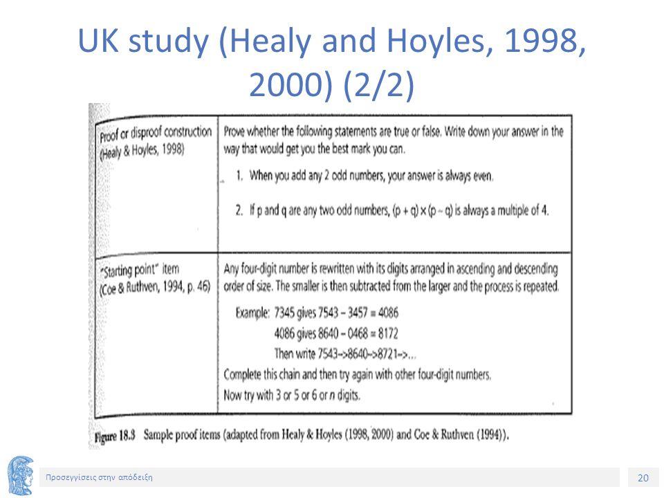 20 Προσεγγίσεις στην απόδειξη UK study (Healy and Hoyles, 1998, 2000) (2/2)