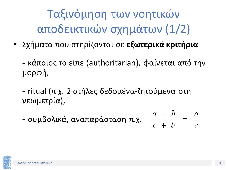 9 Προσεγγίσεις στην απόδειξη Ταξινόμηση των νοητικών αποδεικτικών σχημάτων (2/2) Εμπειρικά σχήματα - Τεκμηρίωση από τα παραδείγματα-επαγωγή (induction) - Διαισθητική τεκμηρίωση Παραγωγικά σχήματα (deductive) - Μετασχηματιστικά σχήματα: 3 κοινά χαρακτηριστικά γενίκευση (στόχος απόδειξη «για όλες» τις περιπτώσεις, όχι μεμονωμένα παραδείγματα), λειτουργική σκέψη (στόχοι/υποστόχοι και αναμονή των αποτελεσμάτων τους στη διαδικασία απόδειξης), λογικά συμπεράσματα (χρήση κανόνων λογικού συμπερασμού) - Αξιωματικά σχήματα