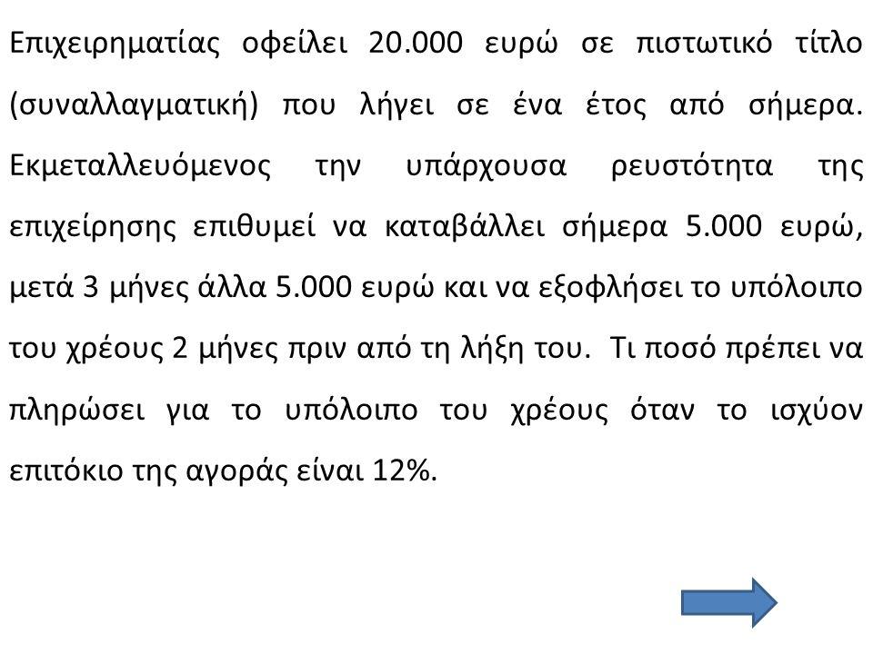 Επιχειρηματίας οφείλει 20.000 ευρώ σε πιστωτικό τίτλο (συναλλαγματική) που λήγει σε ένα έτος από σήμερα. Εκμεταλλευόμενος την υπάρχουσα ρευστότητα της