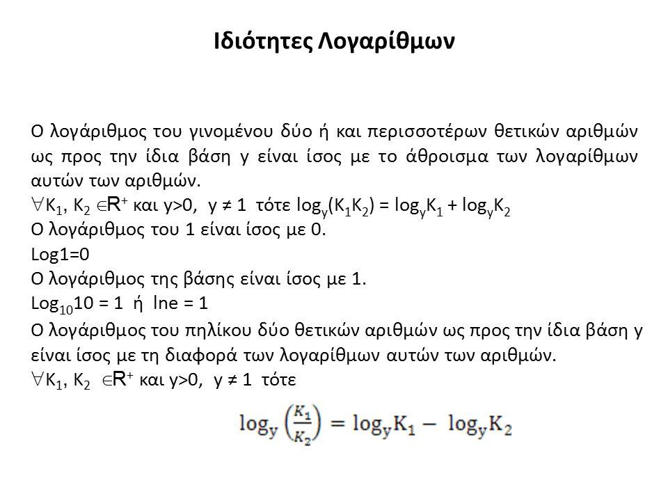 Ο λογάριθμος μιας δύναμης ενός θετικού αριθμού ως προς μια βάση y είναι ίσος με το γινόμενο του εκθέτη της δύναμης x επί τον λογάριθμο της βάσης της δύναμης.