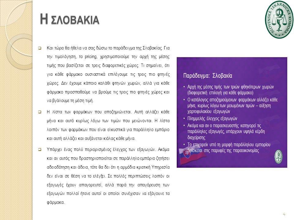 Η ΣΛΟΒΑΚΙΑ  Και τώρα θα ήθελα να σας δώσω το παράδειγμα της Σλοβακίας. Για την τιμολόγηση, το pricing, χρησιμοποιούμε την αρχή της μέσης τιμής που βα