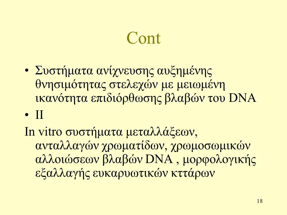18 Cont Συστήματα ανίχνευσης αυξημένης θνησιμότητας στελεχών με μειωμένη ικανότητα επιδιόρθωσης βλαβών του DNA II In vitro συστήματα μεταλλάξεων, ανταλλαγών χρωματίδων, χρωμοσωμικών αλλοιώσεων βλαβών DNA, μορφολογικής εξαλλαγής ευκαρυωτικών κττάρων
