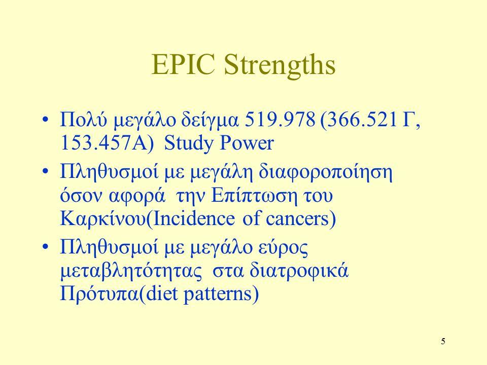 5 EPIC Strengths Πολύ μεγάλο δείγμα 519.978 (366.521 Γ, 153.457Α) Study Power Πληθυσμοί με μεγάλη διαφοροποίηση όσον αφορά την Επίπτωση του Καρκίνου(Incidence of cancers) Πληθυσμοί με μεγάλο εύρος μεταβλητότητας στα διατροφικά Πρότυπα(diet patterns)