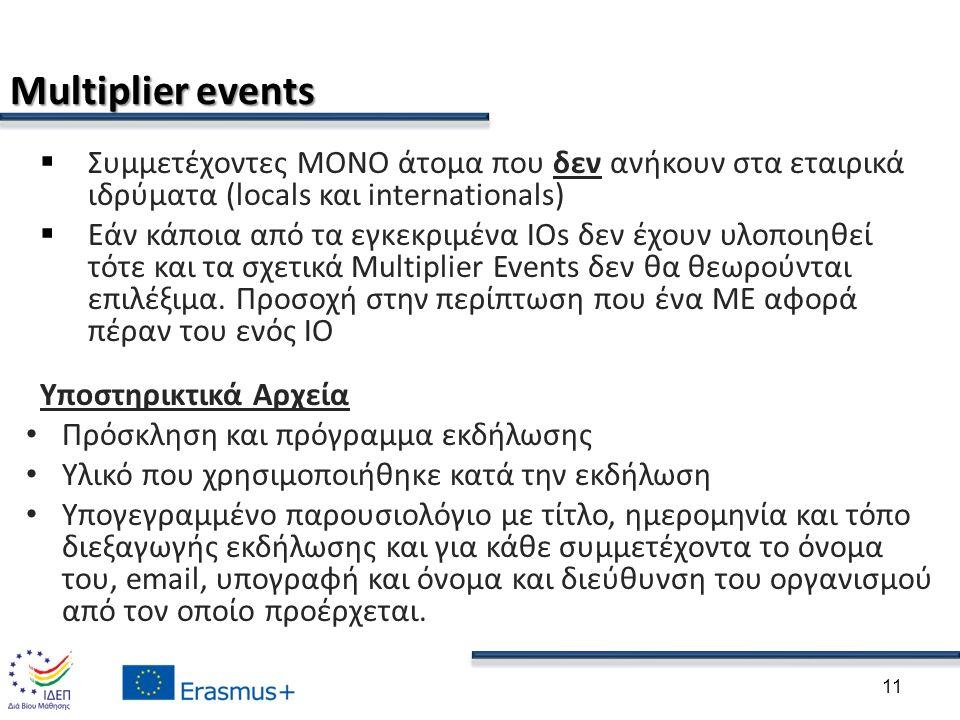 Multiplier events  Συμμετέχοντες ΜΟΝΟ άτομα που δεν ανήκουν στα εταιρικά ιδρύματα (locals και internationals)  Εάν κάποια από τα εγκεκριμένα IOs δεν έχουν υλοποιηθεί τότε και τα σχετικά Multiplier Events δεν θα θεωρούνται επιλέξιμα.