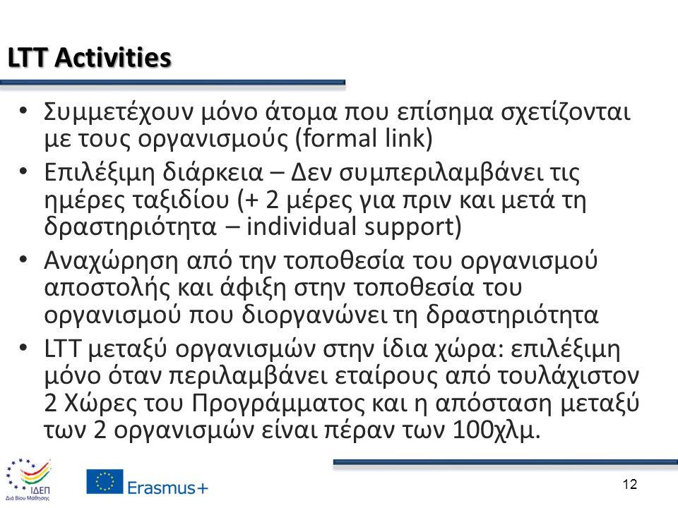 LTT Activities Συμμετέχουν μόνο άτομα που επίσημα σχετίζονται με τους οργανισμούς (formal link) Επιλέξιμη διάρκεια – Δεν συμπεριλαμβάνει τις ημέρες ταξιδίου (+ 2 μέρες για πριν και μετά τη δραστηριότητα – individual support) Αναχώρηση από την τοποθεσία του οργανισμού αποστολής και άφιξη στην τοποθεσία του οργανισμού που διοργανώνει τη δραστηριότητα LTT μεταξύ οργανισμών στην ίδια χώρα: επιλέξιμη μόνο όταν περιλαμβάνει εταίρους από τουλάχιστον 2 Χώρες του Προγράμματος και η απόσταση μεταξύ των 2 οργανισμών είναι πέραν των 100χλμ.