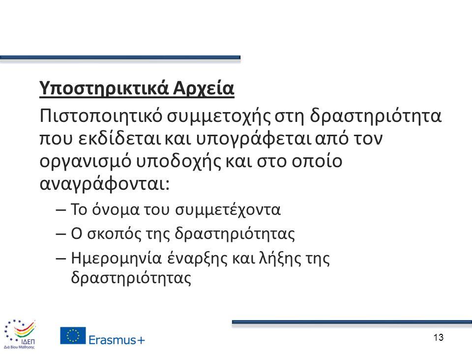Υποστηρικτικά Αρχεία Πιστοποιητικό συμμετοχής στη δραστηριότητα που εκδίδεται και υπογράφεται από τον οργανισμό υποδοχής και στο οποίο αναγράφονται: –