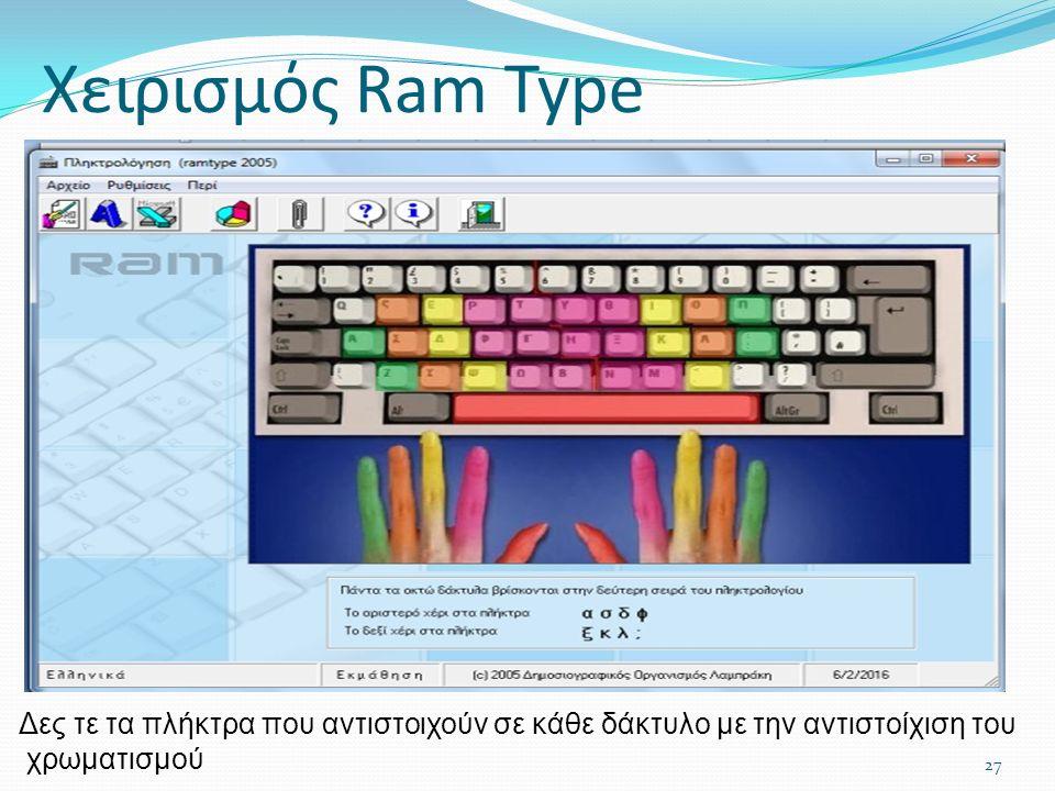Χειρισμός Ram Type 27 Δες τε τα πλήκτρα που αντιστοιχούν σε κάθε δάκτυλο με την αντιστοίχιση του χρωματισμού