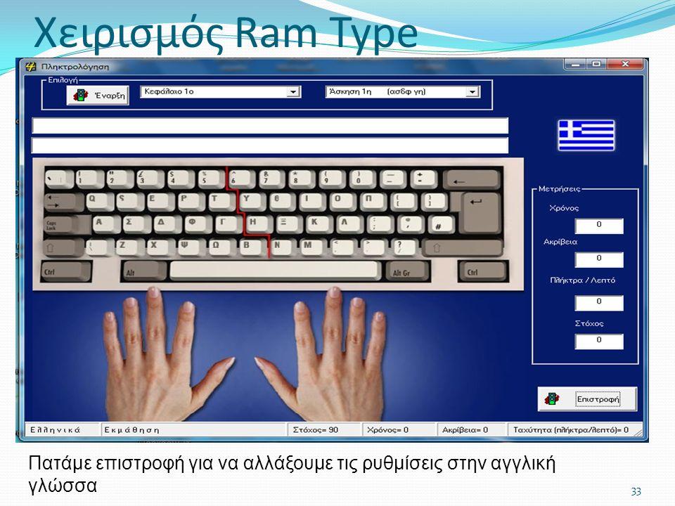 33 Πατάμε επιστροφή για να αλλάξουμε τις ρυθμίσεις στην αγγλική γλώσσα Χειρισμός Ram Type