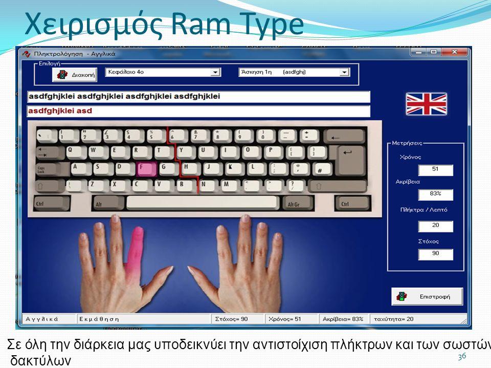 36 Σε όλη την διάρκεια μας υποδεικνύει την αντιστοίχιση πλήκτρων και των σωστών δακτύλων Χειρισμός Ram Type