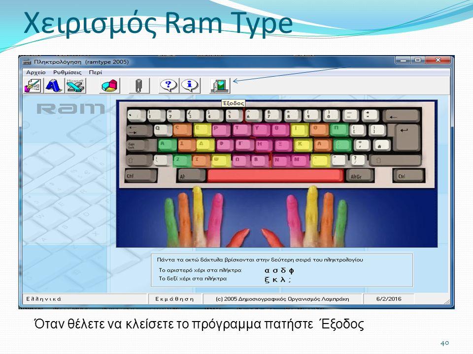 Όταν θέλετε να κλείσετε το πρόγραμμα πατήστε Έξοδος 40 Χειρισμός Ram Type