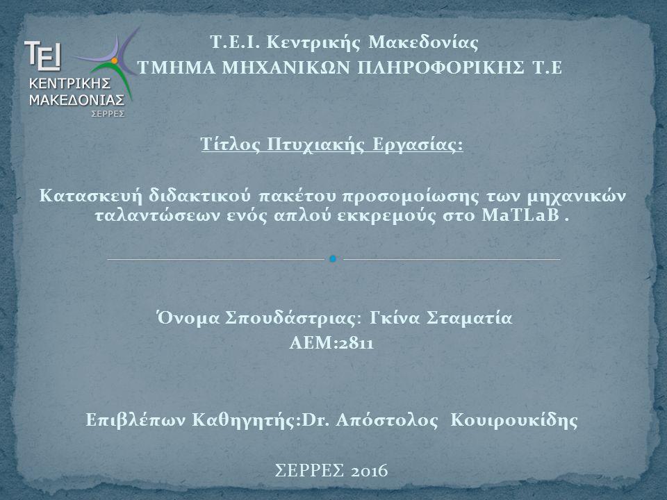 Τ.Ε.Ι. Κεντρικής Μακεδονίας ΤΜΗΜΑ ΜΗΧΑΝΙΚΩΝ ΠΛΗΡΟΦΟΡΙΚΗΣ Τ.Ε Τίτλος Πτυχιακής Εργασίας: Κατασκευή διδακτικού πακέτου προσομοίωσης των μηχανικών ταλαντ