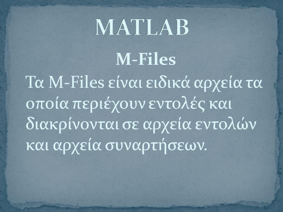 M-Files Τα M-Files είναι ειδικά αρχεία τα οποία περιέχουν εντολές και διακρίνονται σε αρχεία εντολών και αρχεία συναρτήσεων.