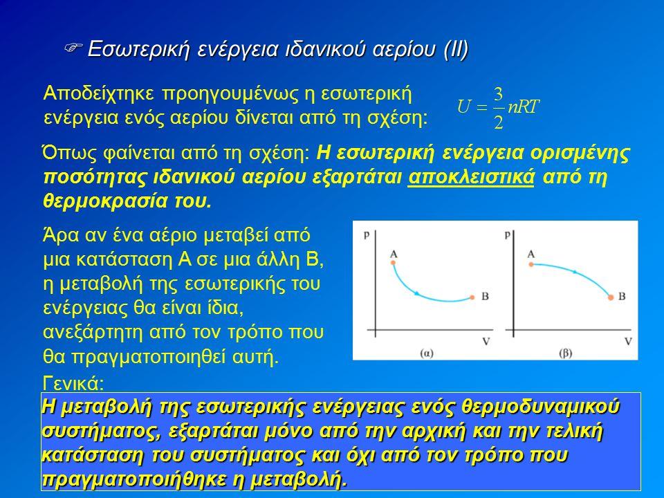  Εσωτερική ενέργεια ιδανικού αερίου (ΙΙ) Αποδείχτηκε προηγουμένως η εσωτερική ενέργεια ενός αερίου δίνεται από τη σχέση: Όπως φαίνεται από τη σχέση: Η εσωτερική ενέργεια ορισμένης ποσότητας ιδανικού αερίου εξαρτάται αποκλειστικά από τη θερμοκρασία του.