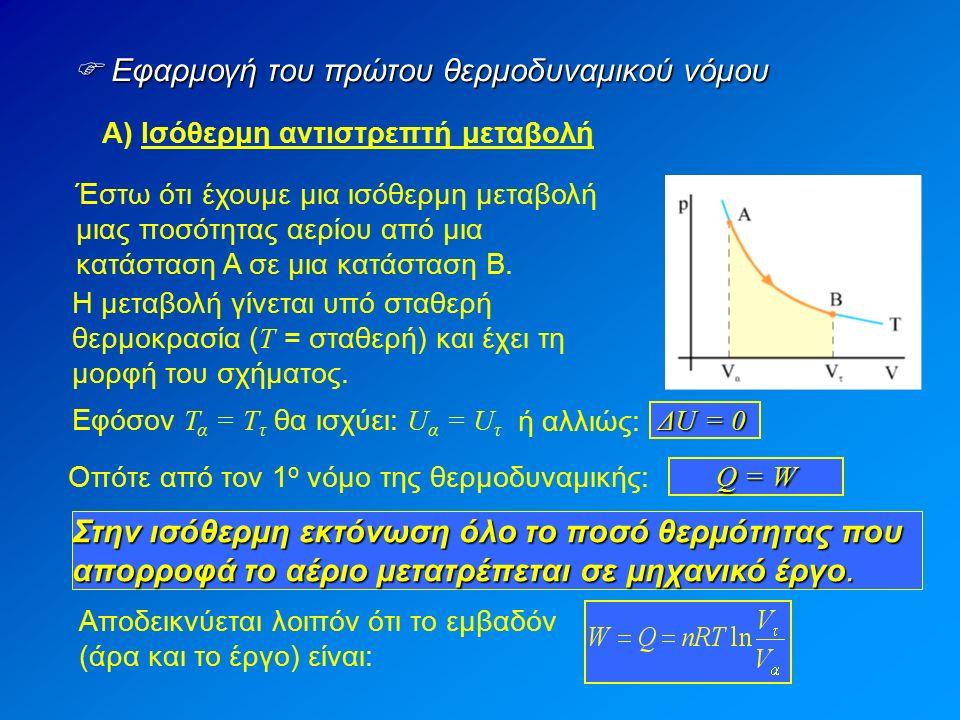  Εφαρμογή του πρώτου θερμοδυναμικού νόμου Α) Ισόθερμη αντιστρεπτή μεταβολή Έστω ότι έχουμε μια ισόθερμη μεταβολή μιας ποσότητας αερίου από μια κατάσταση Α σε μια κατάσταση Β.