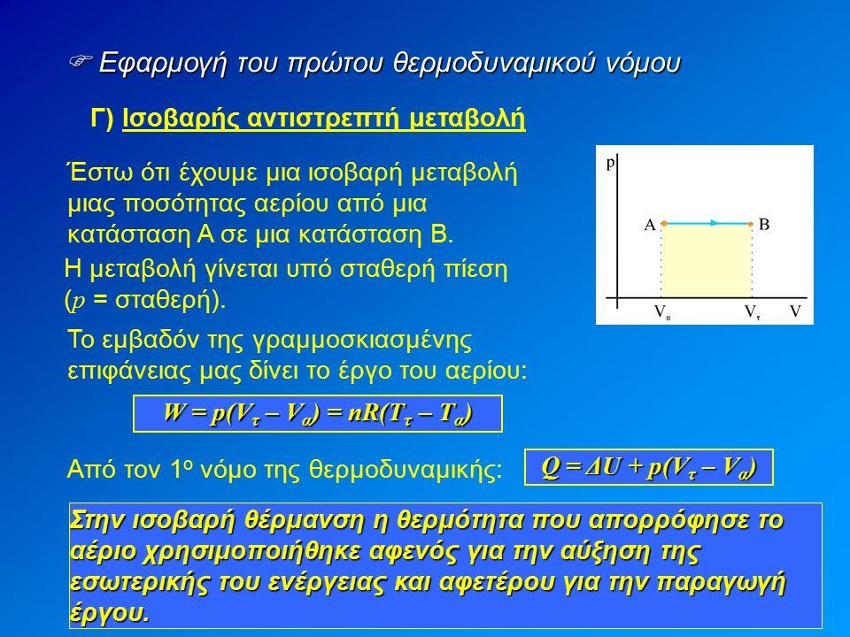  Εφαρμογή του πρώτου θερμοδυναμικού νόμου Γ) Ισοβαρής αντιστρεπτή μεταβολή Έστω ότι έχουμε μια ισοβαρή μεταβολή μιας ποσότητας αερίου από μια κατάσταση Α σε μια κατάσταση Β.