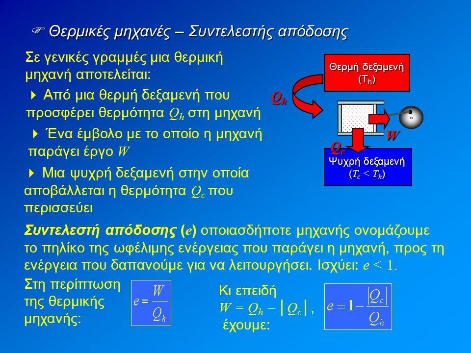 Σε γενικές γραμμές μια θερμική μηχανή αποτελείται:  Θερμικές μηχανές – Συντελεστής απόδοσης  Από μια θερμή δεξαμενή που προσφέρει θερμότητα Q h στη μηχανή  Μια ψυχρή δεξαμενή στην οποία αποβάλλεται η θερμότητα Q c που περισσεύει  Ένα έμβολο με το οποίο η μηχανή παράγει έργο W Θερμή δεξαμενή (Τ h ) QhQhQhQh QcQcQcQc W Ψυχρή δεξαμενή ( T c < Τ h ) Συντελεστή απόδοσης ( e ) οποιασδήποτε μηχανής ονομάζουμε το πηλίκο της ωφέλιμης ενέργειας που παράγει η μηχανή, προς τη ενέργεια που δαπανούμε για να λειτουργήσει.