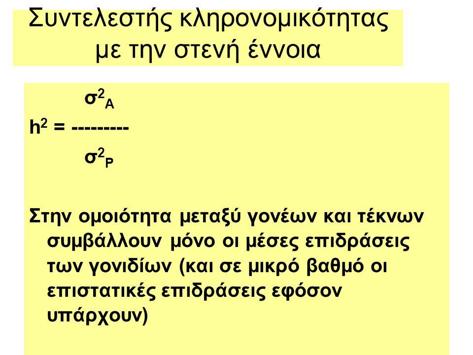 Συντελεστής κληρονομικότητας με την στενή έννοια σ 2 A h 2 = --------- σ 2 P Στην ομοιότητα μεταξύ γονέων και τέκνων συμβάλλουν μόνο οι μέσες επιδράσεις των γονιδίων (και σε μικρό βαθμό οι επιστατικές επιδράσεις εφόσον υπάρχουν)