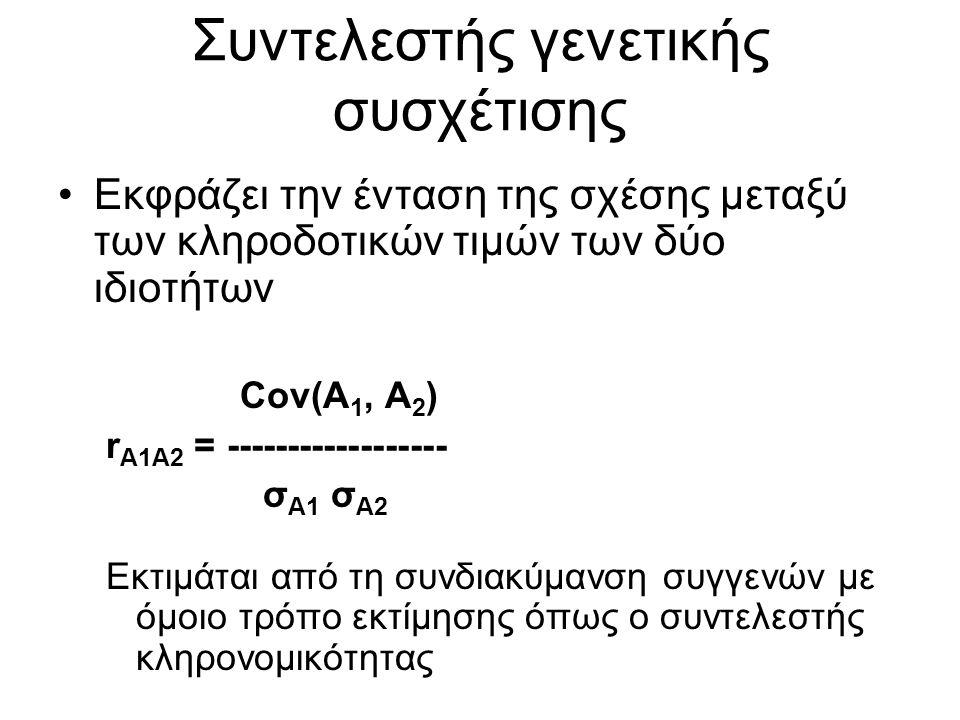 Συντελεστής γενετικής συσχέτισης Εκφράζει την ένταση της σχέσης μεταξύ των κληροδοτικών τιμών των δύο ιδιοτήτων Cov(Α 1, Α 2 ) r Α1Α2 = ------------------ σ Α1 σ Α2 Εκτιμάται από τη συνδιακύμανση συγγενών με όμοιο τρόπο εκτίμησης όπως ο συντελεστής κληρονομικότητας