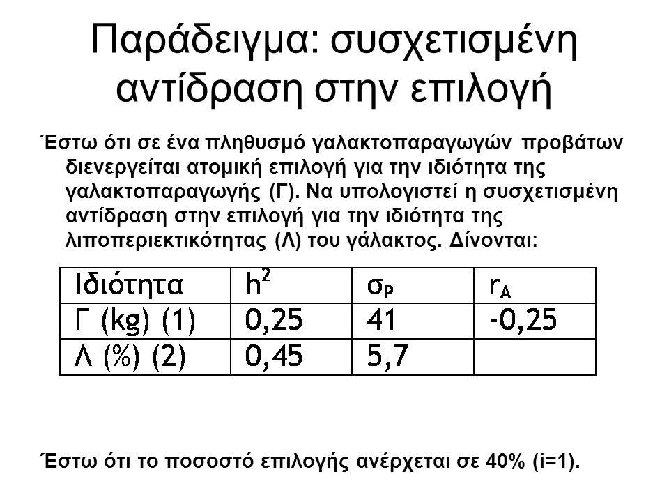 Παράδειγμα: συσχετισμένη αντίδραση στην επιλογή Έστω ότι σε ένα πληθυσμό γαλακτοπαραγωγών προβάτων διενεργείται ατομική επιλογή για την ιδιότητα της γαλακτοπαραγωγής (Γ).