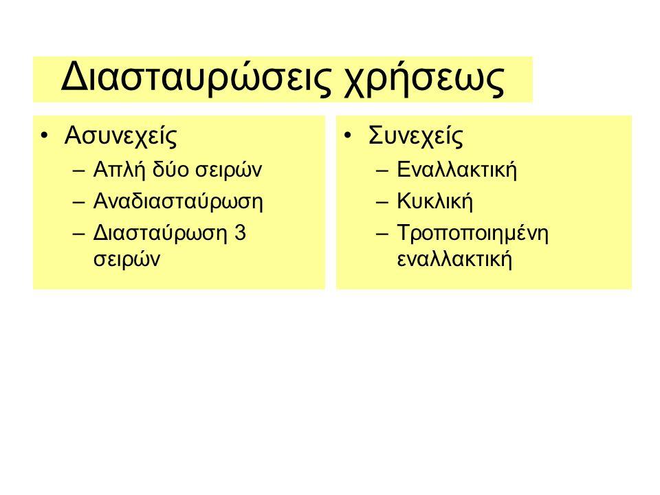 Διασταυρώσεις χρήσεως Ασυνεχείς –Απλή δύο σειρών –Αναδιασταύρωση –Διασταύρωση 3 σειρών Συνεχείς –Εναλλακτική –Κυκλική –Τροποποιημένη εναλλακτική