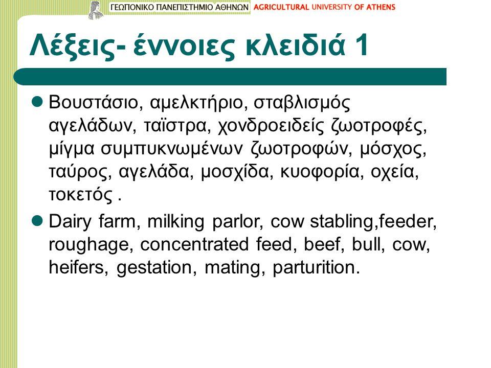 Λέξεις- έννοιες κλειδιά 1 Βουστάσιο, αμελκτήριο, σταβλισμός αγελάδων, ταϊστρα, χονδροειδείς ζωοτροφές, μίγμα συμπυκνωμένων ζωοτροφών, μόσχος, ταύρος, αγελάδα, μοσχίδα, κυοφορία, οχεία, τοκετός.