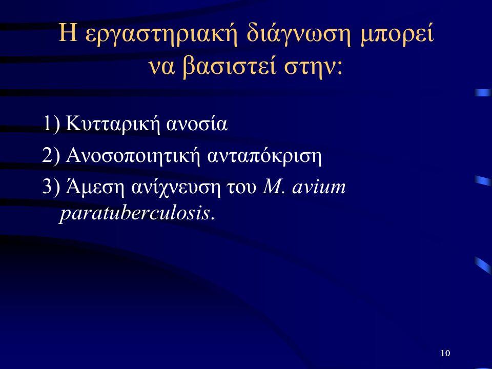 Η εργαστηριακή διάγνωση μπορεί να βασιστεί στην: 1) Κυτταρική ανοσία 2) Ανοσοποιητική ανταπόκριση 3) Άμεση ανίχνευση του M.