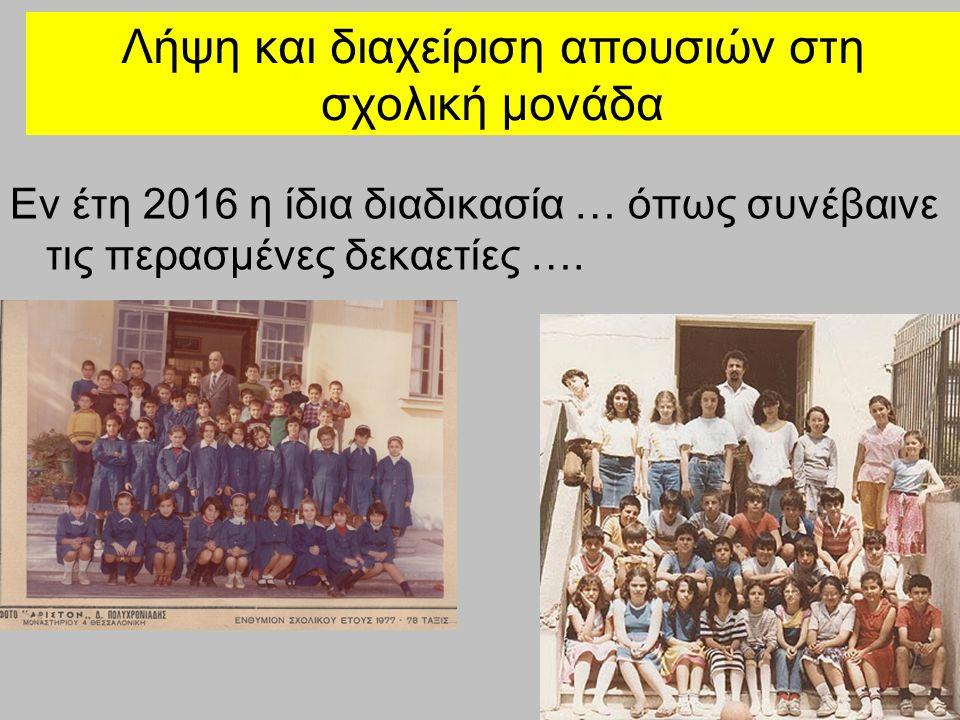Λήψη και διαχείριση απουσιών στη σχολική μονάδα Εν έτη 2016 η ίδια διαδικασία … όπως συνέβαινε τις περασμένες δεκαετίες ….