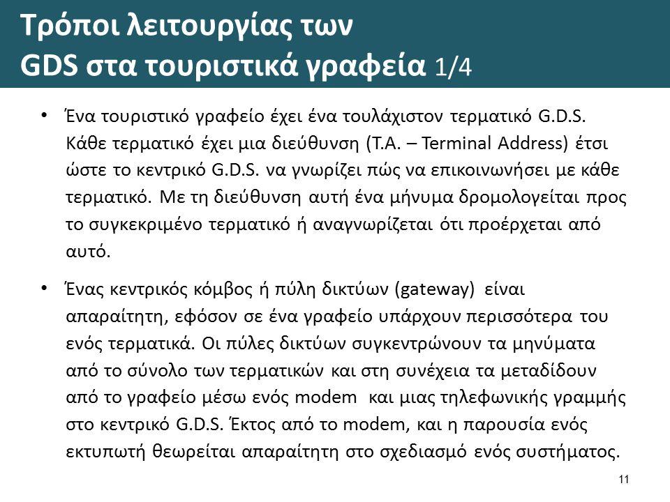 Τρόποι λειτουργίας των GDS στα τουριστικά γραφεία 1/4 Ένα τουριστικό γραφείο έχει ένα τουλάχιστον τερματικό G.D.S.