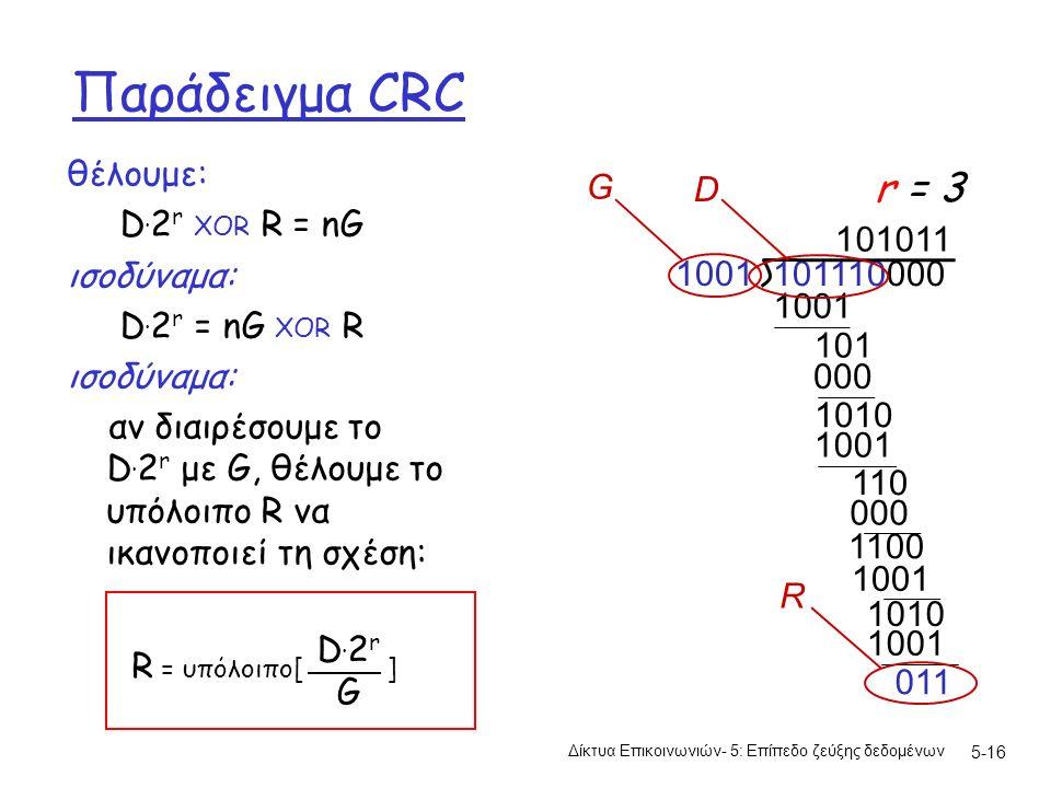 5-16 Παράδειγμα CRC θέλουμε: D. 2 r XOR R = nG ισοδύναμα: D.