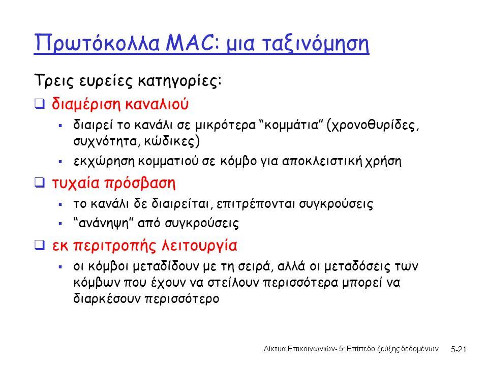 5-21 Πρωτόκολλα MAC: μια ταξινόμηση Τρεις ευρείες κατηγορίες:  διαμέριση καναλιού  διαιρεί το κανάλι σε μικρότερα κομμάτια (χρονοθυρίδες, συχνότητα, κώδικες)  εκχώρηση κομματιού σε κόμβο για αποκλειστική χρήση  τυχαία πρόσβαση  το κανάλι δε διαιρείται, επιτρέπονται συγκρούσεις  ανάνηψη από συγκρούσεις  εκ περιτροπής λειτουργία  οι κόμβοι μεταδίδουν με τη σειρά, αλλά οι μεταδόσεις των κόμβων που έχουν να στείλουν περισσότερα μπορεί να διαρκέσουν περισσότερο Δίκτυα Επικοινωνιών- 5: Επίπεδο ζεύξης δεδομένων