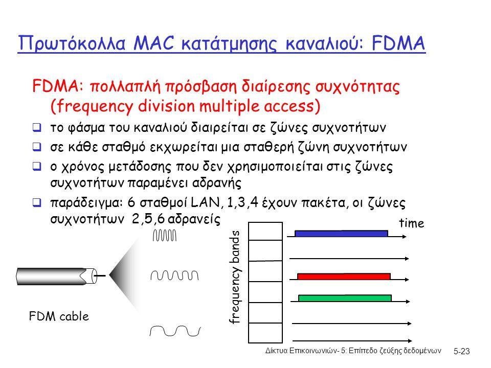 5-23 Πρωτόκολλα MAC κατάτμησης καναλιού: FDMA FDMA: πολλαπλή πρόσβαση διαίρεσης συχνότητας (frequency division multiple access)  το φάσμα του καναλιού διαιρείται σε ζώνες συχνοτήτων  σε κάθε σταθμό εκχωρείται μια σταθερή ζώνη συχνοτήτων  ο χρόνος μετάδοσης που δεν χρησιμοποιείται στις ζώνες συχνοτήτων παραμένει αδρανής  παράδειγμα: 6 σταθμοί LAN, 1,3,4 έχουν πακέτα, οι ζώνες συχνοτήτων 2,5,6 αδρανείς frequency bands time FDM cable Δίκτυα Επικοινωνιών- 5: Επίπεδο ζεύξης δεδομένων