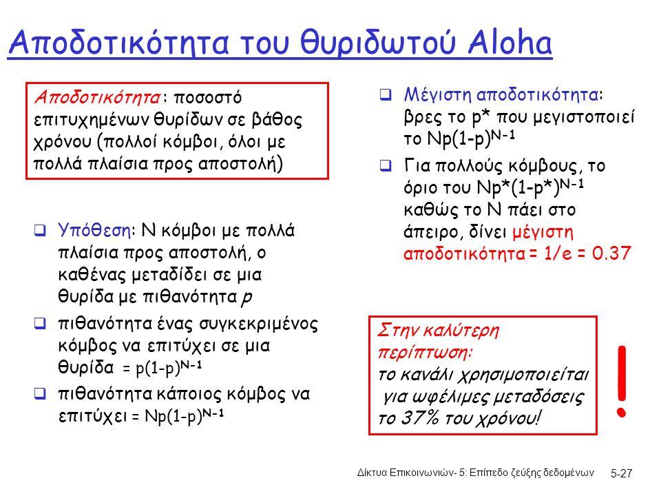 5-27 Αποδοτικότητα του θυριδωτού Aloha  Υπόθεση: N κόμβοι με πολλά πλαίσια προς αποστολή, ο καθένας μεταδίδει σε μια θυρίδα με πιθανότητα p  πιθανότητα ένας συγκεκριμένος κόμβος να επιτύχει σε μια θυρίδα = p(1-p) N-1  πιθανότητα κάποιος κόμβος να επιτύχει = Np(1-p) N-1  Μέγιστη αποδοτικότητα: βρες το p* που μεγιστοποιεί το Np(1-p) N-1  Για πολλούς κόμβους, το όριο του Np*(1-p*) N-1 καθώς το Ν πάει στο άπειρο, δίνει μέγιστη αποδοτικότητα = 1/e = 0.37 Αποδοτικότητα : ποσοστό επιτυχημένων θυρίδων σε βάθος χρόνου (πολλοί κόμβοι, όλοι με πολλά πλαίσια προς αποστολή) Στην καλύτερη περίπτωση: το κανάλι χρησιμοποιείται για ωφέλιμες μεταδόσεις το 37% του χρόνου.