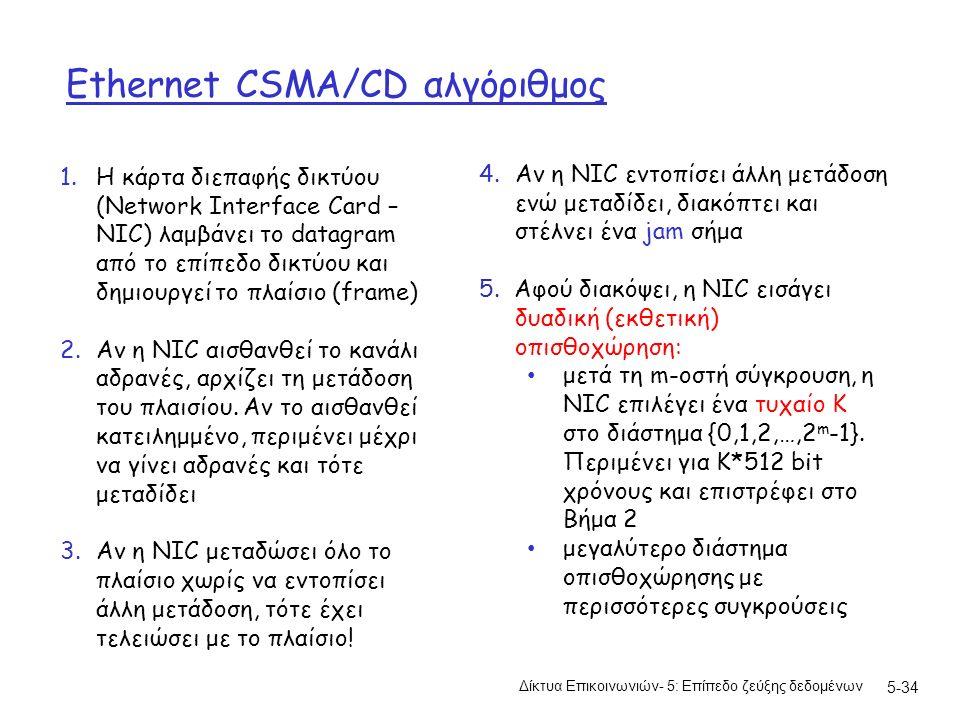 Ethernet CSMA/CD αλγόριθμος Δίκτυα Επικοινωνιών- 5: Επίπεδο ζεύξης δεδομένων 5-34 1.Η κάρτα διεπαφής δικτύου (Network Interface Card – NIC) λαμβάνει το datagram από το επίπεδο δικτύου και δημιουργεί το πλαίσιο (frame) 2.Αν η NIC αισθανθεί το κανάλι αδρανές, αρχίζει τη μετάδοση του πλαισίου.