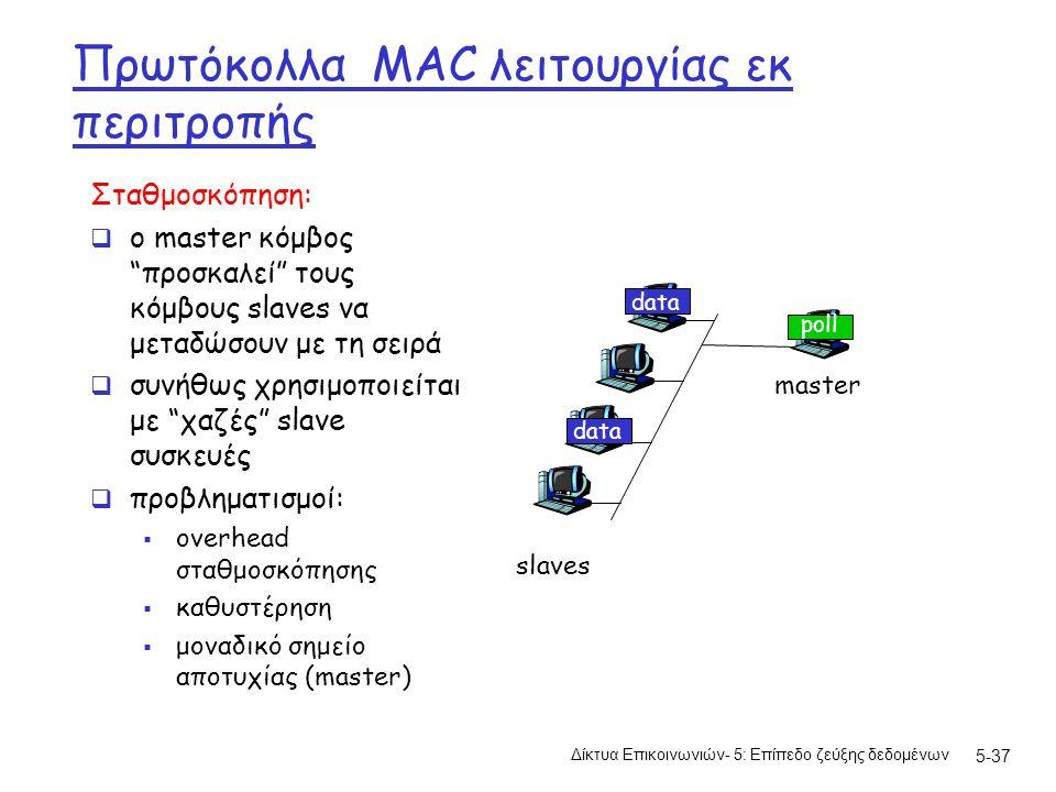 5-37 Πρωτόκολλα MAC λειτουργίας εκ περιτροπής Σταθμοσκόπηση:  ο master κόμβος προσκαλεί τους κόμβους slaves να μεταδώσουν με τη σειρά  συνήθως χρησιμοποιείται με χαζές slave συσκευές  προβληματισμοί:  overhead σταθμοσκόπησης  καθυστέρηση  μοναδικό σημείο αποτυχίας (master) master slaves poll data Δίκτυα Επικοινωνιών- 5: Επίπεδο ζεύξης δεδομένων