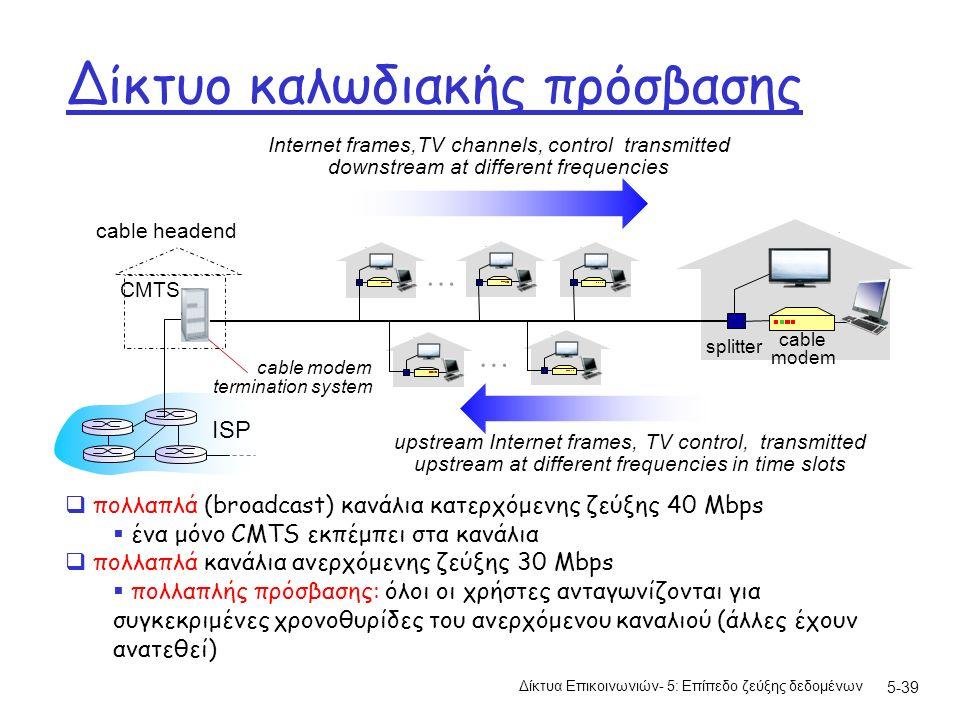 Δίκτυο καλωδιακής πρόσβασης Δίκτυα Επικοινωνιών- 5: Επίπεδο ζεύξης δεδομένων 5-39 cable headend CMTS ISP cable modem termination system cable modem splitter … … Internet frames,TV channels, control transmitted downstream at different frequencies upstream Internet frames, TV control, transmitted upstream at different frequencies in time slots  πολλαπλά (broadcast) κανάλια κατερχόμενης ζεύξης 40 Mbps  ένα μόνο CMTS εκπέμπει στα κανάλια  πολλαπλά κανάλια ανερχόμενης ζεύξης 30 Mbps  πολλαπλής πρόσβασης: όλοι οι χρήστες ανταγωνίζονται για συγκεκριμένες χρονοθυρίδες του ανερχόμενου καναλιού (άλλες έχουν ανατεθεί)