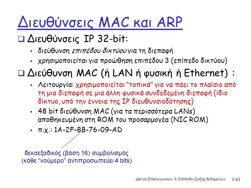 5-43 Διευθύνσεις MAC και ARP  Διευθύνσεις IP 32-bit:  διεύθυνση επιπέδου δικτύου για τη διεπαφή  χρησιμοποιείται για προώθηση επιπέδου 3 (επίπεδο δικτύου)  Διεύθυνση MAC (ή LAN ή φυσική ή Ethernet) :  Λειτουργία: χρησιμοποιείται τοπικά για να πάει το πλαίσιο από τη μια διεπαφή σε μια άλλη φυσικά συνδεδεμένη διεπαφή (ίδιο δίκτυο, υπό την έννοια της IP διευθυνσιοδότησης)  48 bit διεύθυνση MAC (για τα περισσότερα LANs) αποθηκευμένη στη ROM του προσαρμογέα (NIC ROM)  π.χ.: 1A-2F-BB-76-09-AD Δίκτυα Επικοινωνιών- 5: Επίπεδο ζεύξης δεδομένων δεκαεξαδικός (βάση 16) συμβολισμός (κάθε νούμερο αντιπροσωπεύει 4 bits)